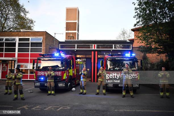 Firefighters Clap For Carers at Crouch End Fire Station on April 23 2020 in London United Kingdom Following the success of the Clap for Our Carers...