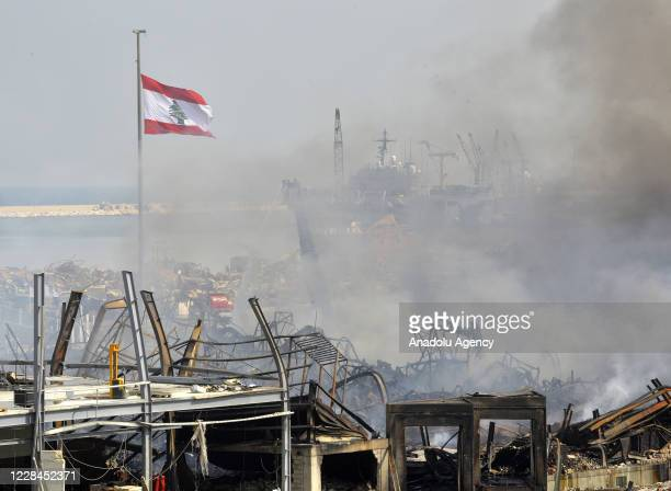 Firefighters continue cooling works after the fire broken out in one of Beirut Port's warehouses got under control in Beirut, Lebanon on September...