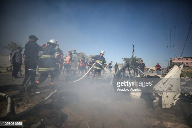 Firefighters extinguish fire during a drill organised to make ready the state ministries and establishments for crisis and extraordinary situations...