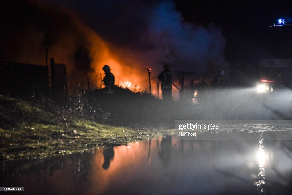 Farmer building destroyed by a fire near the Bulgarian-Greek border