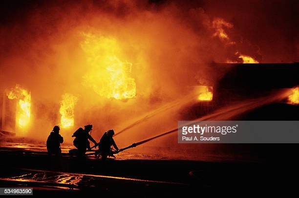 Firefighters Fighting Warehouse Fire in Anchorage