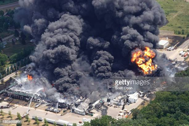 Firefighters from Northern Illinois and Southern Wisconsin battle an industrial fire at Chemtool Inc. On June 14, 2021 in Rockton, Illinois. The...