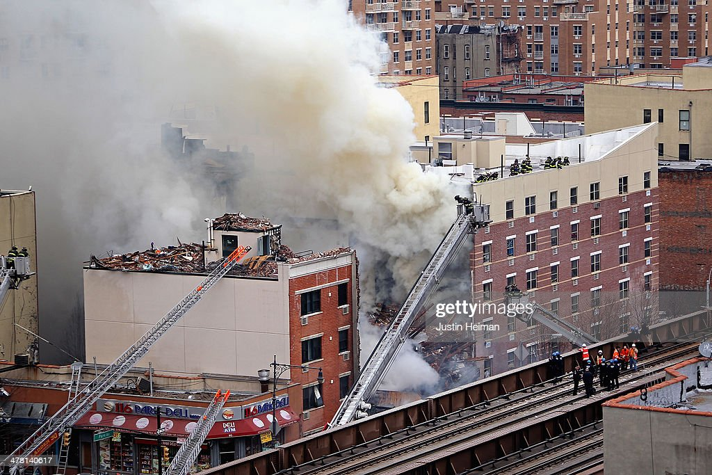 Explosion Causes Two Buildings To Collapse In Manhattan's East Harlem Neighborhood : News Photo