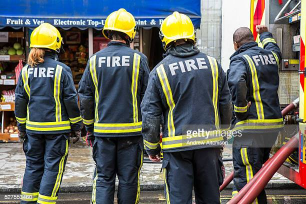 Firefighters from the London Fire Brigade respond to an emergency on Church Street Stoke Newington London They have been called out due to an...
