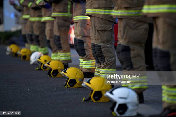 Firefighters from Weymouth Fire Station applaud for all the key workers on April 09 2020 in Weymouth United Kingdom Following the success of the Clap...