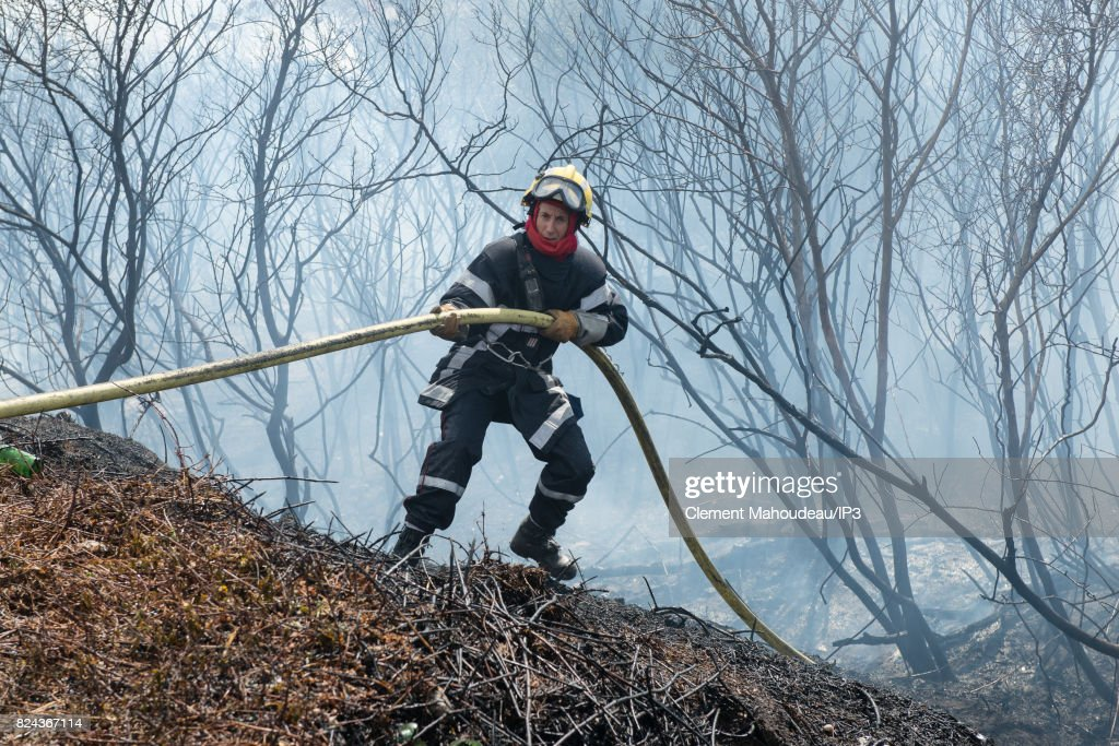 Intervention Of Firefighters To Extinguish The Fires In The South of France and To Help the Population. : News Photo