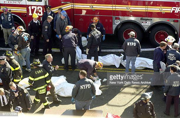 Firefighters lay bodies of victims next to fire truck when they are removed from the smoldering remains of American Airlines flight 587 after it...