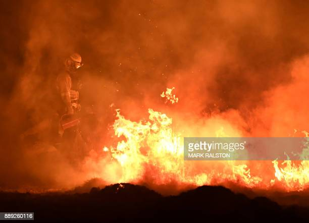 Firefighters light backfires as they try to contain the Thomas wildfire which continues to burn in Ojai California on December 9 2017 Brutal winds...