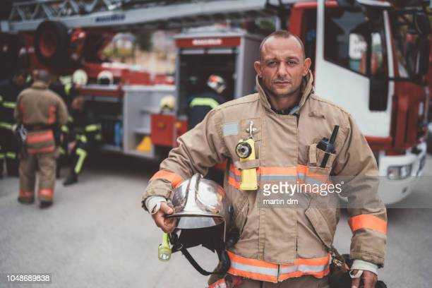 firefighter's portrait - rescue services occupation stock pictures, royalty-free photos & images