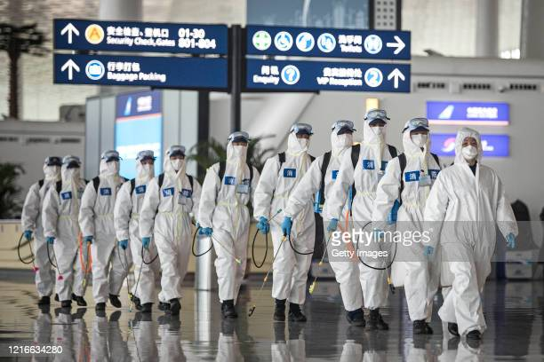 Firefighters prepare to conduct disinfection at the Wuhan Tianhe International Airport on April 3 2020 in Wuhan Hubei Province China Wuhan the...