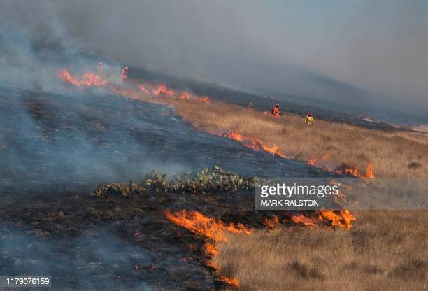 Firefighters prepare to put out flames on the road leading to the Reagan Library during the Easy Fire in Simi Valley California on October 30 2019...