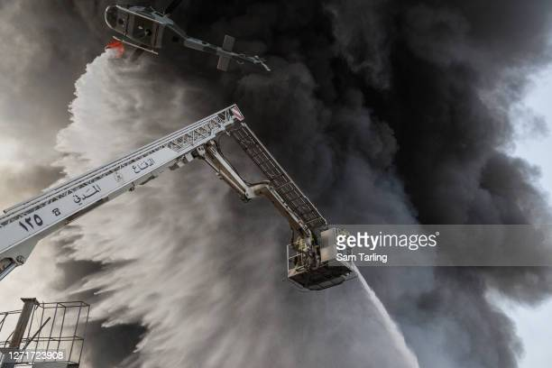 Firefighters respond to a huge blaze at Beirut port on September 10, 2020 in Beirut, Lebanon. The fire broke out in a structure in the city's heavily...