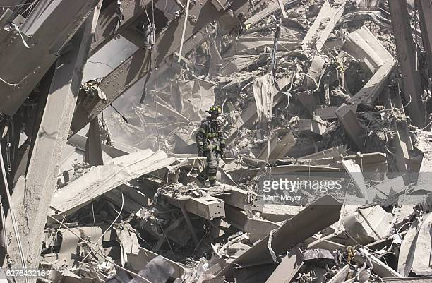 Firefighters search for survivors after the collapse of the World Trade Center on Sept. 11, 2001.