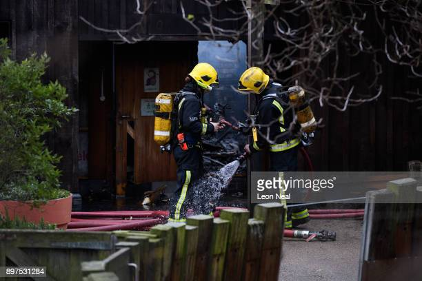 Firefighters spray each other down before entering aan area to survey the damage after a fire destroyed a number of buildings at London Zoo on...