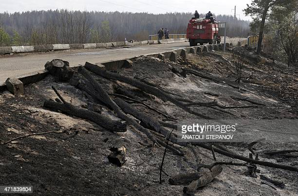 Firefighters stay on position in the Chernobyl zone on May 1 2015 after nearly extinguished a forest fire near Chernobyl plant which came within...