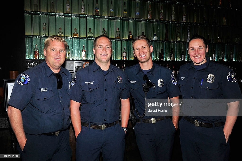 Firefighters Steve Savage, Tim Keating, Andrew Harris and Cinnamon Basco at the Costa Mesa Firefighter Fashion Show benefitting CHOC Children's Glass Slipper Fund at AnQi Gourmet Bistro & Noodle Bar on September 28, 2013 in Costa Mesa, California.
