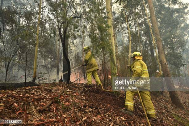 Firefighters tackle a a bushfire south of Nowra on January 5 2020 Australians on January 5 counted the cost from a day of catastrophic bushfires that...