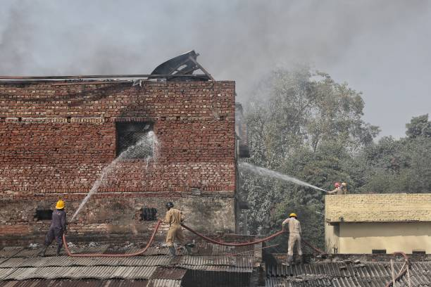IND: Fire Breaks Out At Factory In Delhi's Pratap Nagar