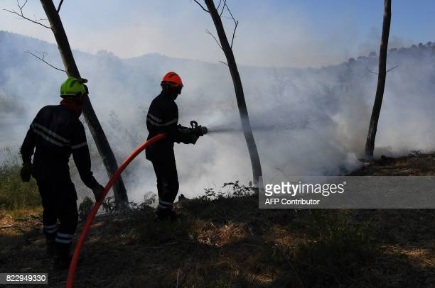 Firefighters try to extinguish a fire in BormeslesMimosas southeastern France on July 26 2017 At least 10000 people including thousands of...