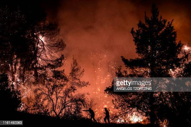 TOPSHOT Firefighters try to extinguish a wildfire near the village of Makrimalli on the island of Evia northeast of Athens on August 13 2019 Hundreds...