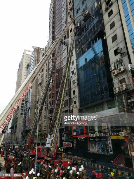 Firefighters try to extinguish fire broke out at a highrise in Dhakas Banani what was yet to be brought under control even after three hours of...