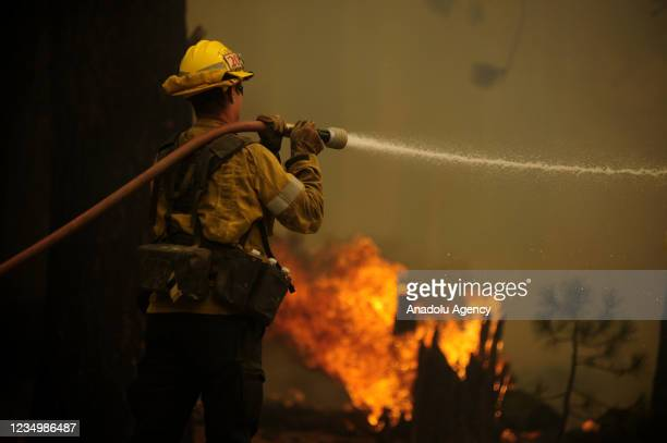 Firefighters try to extinguish the Caldor Fire as it continues in Meyers, California, United States on August 31, 2021.