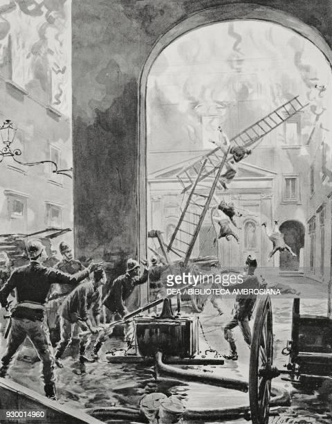 Firefighters trying to extinguish the fire of Monte di Pieta Naples Italy drawing by Edoardo Matania from L'Illustrazione Italiana Year XXX No 24...