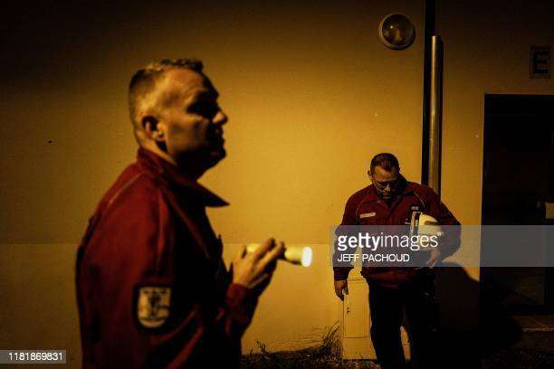 Firefighters verify houses in Le Teil southeastern France on November 11 after an earthquake with a magnitude of 54 hit the area An unusually strong...
