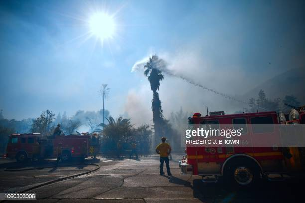 TOPSHOT Firefighters water down trees and bushes near homes on Bell Canyon Road in West Hills near Malibu California on November 11 as the battle to...