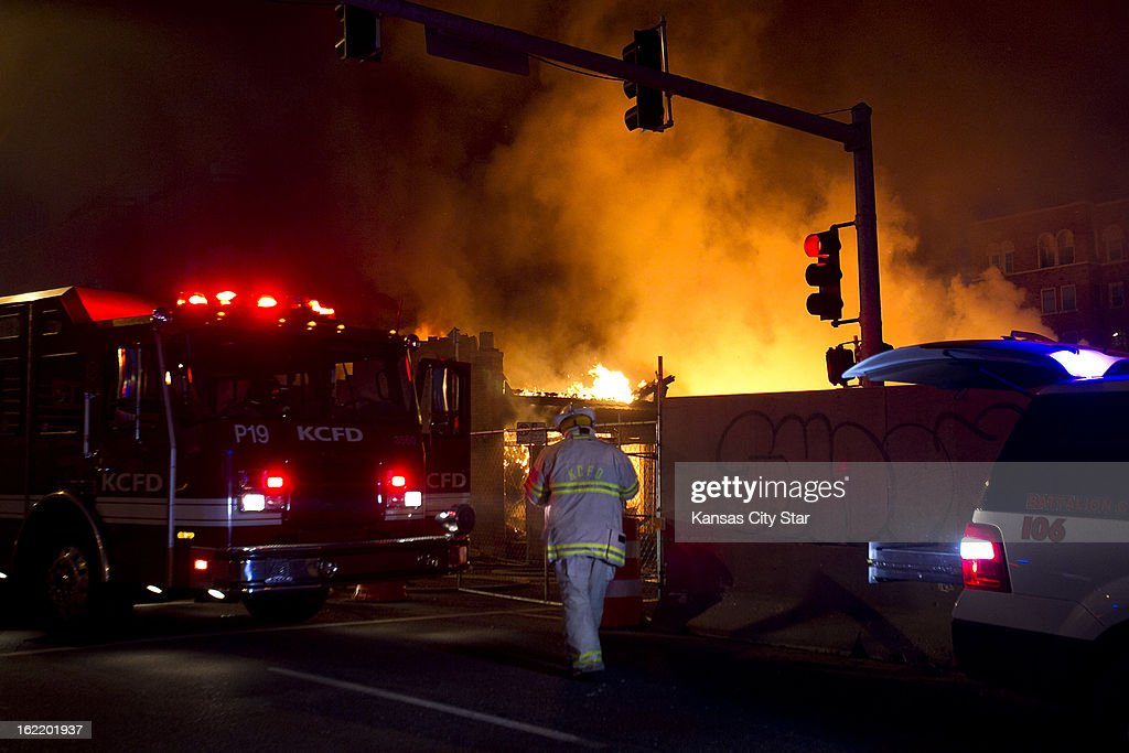 Firefighters were on the scene of a gas explosion and 3-alarm fire Tuesday night, February 19, 2013, at JJ's restaurant at the Country Club Plaza in Kansas City, Missouri.