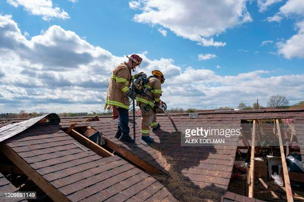 Firefighters with Anne Arundel County Fire Department train on April 10 2020 in Glen Burnie Maryland As COVID19 cases rise across Maryland first...
