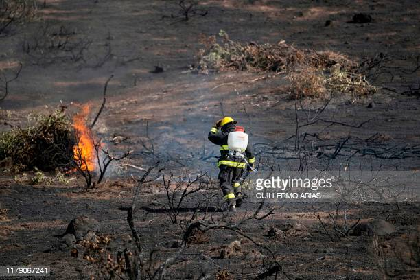 Firefighters work on a brush fire fueled by Santa Ana winds in Plaza Santa Maria south Rosarito Beach, in Baja California state, Mexico, on October...