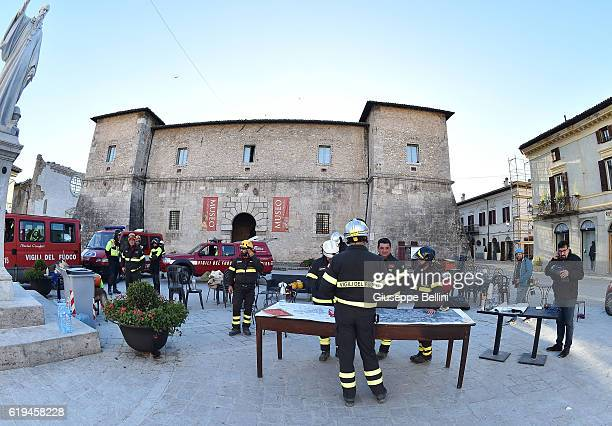 Firefighters working in the square San Benedetto da Norcia following a massive earthquake yesterday morning on October 31, 2016 in the town of Norcia...
