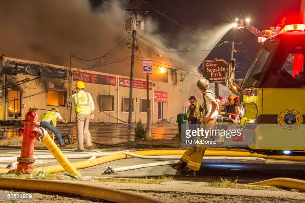 Firefighters working on the fire at the Boardwalk in Seaside, New Jersey.