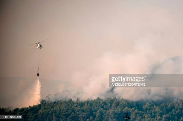 TOPSHOT A firefighting helicopter drops water over a fire near the village of Makrimalli on the island of Evia northeast of Athens on August 14 2019...