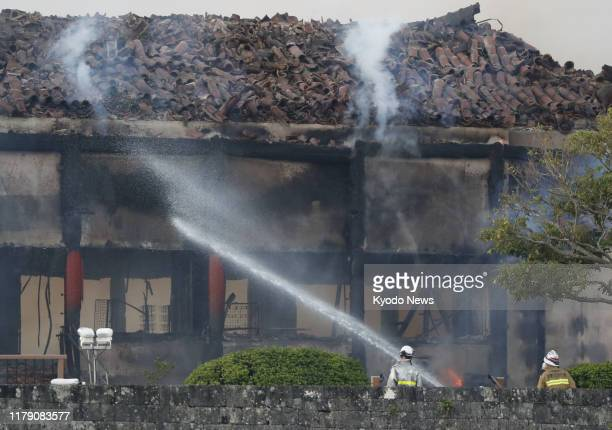 Firefighting operations continue at Shuri Castle in Naha Okinawa Prefecture southern Japan on the morning of Oct 31 after a fire broke out at the...
