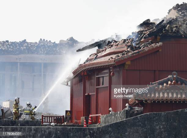 Firefighting operations continue at Shuri Castle in Naha Okinawa Prefecture southern Japan on Oct 31 after a fire broke out at the historic World...