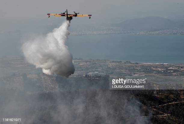TOPSHOT A firefighting plane drops water over a wildfire near the village of Stavros on the Greek Evia island on August 14 2019 Hundreds of villagers...