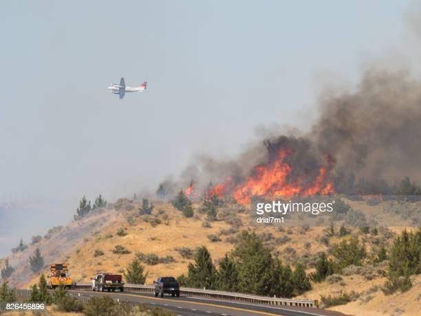 Firefighting Plane Over Emerson Wildfire