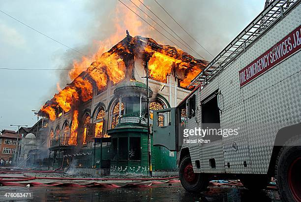 Firefighting vehicle is left unattended after clashes broke out in old city Srinagar against the fire in Shrine of Sheikh abdul Qadir jeelani.