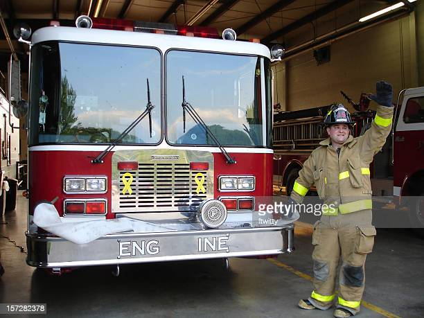 fireman 11 - waving gesture stock photos and pictures