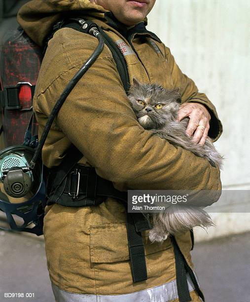 fireman holding rescued cat - rescue stock pictures, royalty-free photos & images