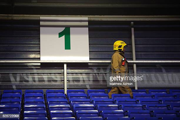 A fireman in the stands at Shrewsbury Town FC