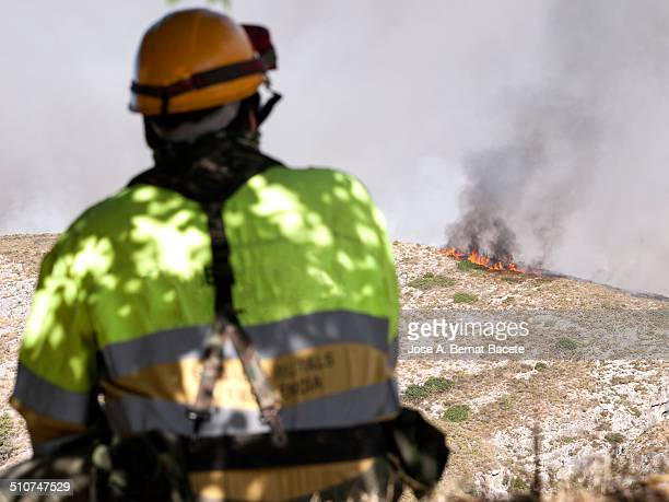 Fireman in uniform watching a wildfire