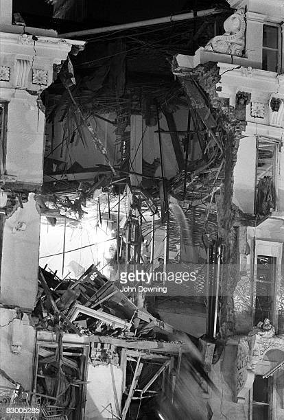 A fireman inside the Grand Hotel in Brighton after a bomb attack by the IRA 12th October 1984 British Prime Minister Margaret Thatcher and many other...