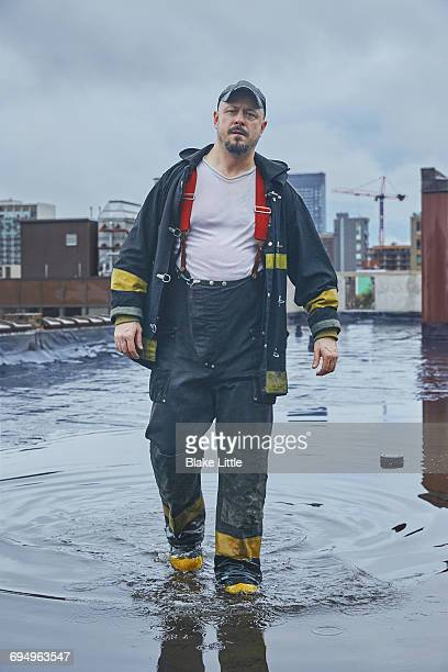 Fireman on Rainwater Rooftop