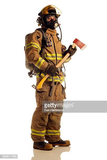 fireman - fire protection suit stock photos and pictures