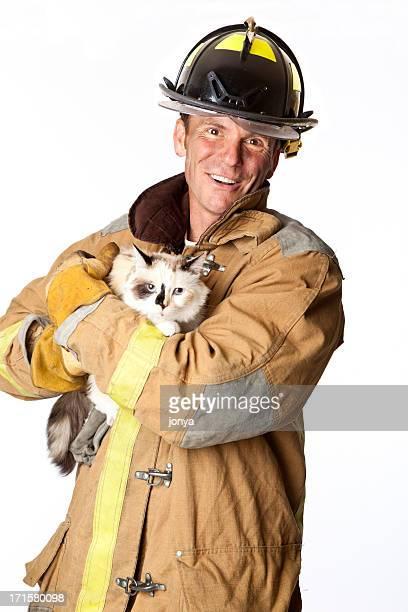 fireman rescuing a cat