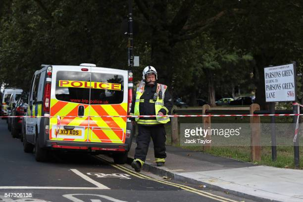 A fireman walks past the police cordon at Parsons Green Underground Station on September 15 2017 in London England Several people have been injured...