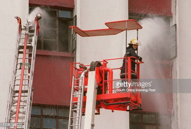 Firemen are battling the fire broke out from the Tin Wan Aberdeen's Blue Box Industrial Building where a blaze broke out just after 11 am A large...